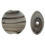 Beads dorë Lampwork, Monedhë, punuar me dorë, 16x9mm, : 2mm, 50PC/Qese,  Qese