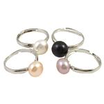 Ujërave të ëmbla Pearl Ring Finger, Pearl kulturuar ujërave të ëmbla, with Tunxh, ngjyra të përziera, 10-11mm, : 18mm, :7.5, 36PC/Kuti,  Kuti
