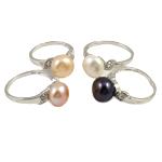 Ujërave të ëmbla Pearl Ring Finger, Pearl kulturuar ujërave të ëmbla, with Diamant i rremë & Tunxh, ngjyra të përziera, 10-11mm, : 18mm, :7.5, 36PC/Kuti,  Kuti