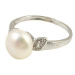 Ujërave të ëmbla Pearl Ring Finger, Pearl kulturuar ujërave të ëmbla, with Diamant i rremë & Tunxh, e bardhë, 10-11mm, : 18mm, :7.5, 10PC/Qese,  Qese