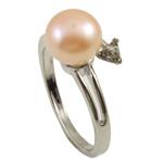 Ujërave të ëmbla Pearl Ring Finger, Pearl kulturuar ujërave të ëmbla, with Diamant i rremë & Tunxh, rozë, 8-9mm, : 18-19mm, 10PC/Qese,  Qese