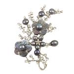 Pearl ujërave të ëmbla karficë, Pearl kulturuar ujërave të ëmbla, Pemë, e zezë, 57x67x11mm,  PC