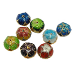 Beads Smooth Cloisonne, Round Flat, 12.50x12x9.50mm, : 1mm, 40PC/Qese,  Qese