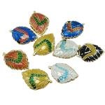 Beads Smooth Cloisonne, Gjethe, 14x20x4.50mm, : 1.5mm, 40PC/Qese,  Qese