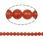 Glass Beads kërcitje, Xham, Round, asnjë, kuq pak portokalli, 10mm, : 2mm, :31Inç, 82PC/Fije floku,  31Inç,