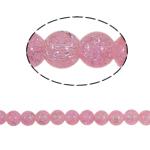 Glass Beads kërcitje, Xham, Round, asnjë, rozë, 10mm, : 2mm, :31Inç, 82PC/Fije floku,  31Inç,