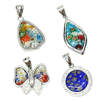 Millefiori Glass Stainless Steel Pendants