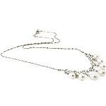 Ujërave të ëmbla Pearl gjerdan Zinxhiri tunxh, Pearl kulturuar ujërave të ëmbla, with Diamant i rremë & Tunxh, Lot, natyror, e bardhë, 6-7mm, :16.5Inç,  16.5Inç,