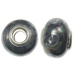 Porcelani Beads European, Rondelle, i praruar, core bronzi të dyfishtë pa karrem, e zezë, 11-11.5x15-15.5mm, : 5mm, 100PC/Qese,  Qese
