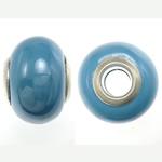 Porcelani Beads European, Rondelle, i praruar, core bronzi të dyfishtë pa karrem, blu, 11-11.5x15-15.5mm, : 5mm, 100PC/Qese,  Qese