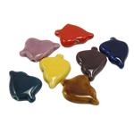 Beads xham porcelani, Gjethe, xham, ngjyra të përziera, 29x22x8mm, : 2mm, 60PC/Qese,  Qese