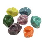 Beads xham porcelani, Kthesë, xham, ngjyra të përziera, 22x16mm, : 2mm, 60PC/Qese,  Qese