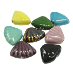 Beads xham porcelani, Predhë, xham, ngjyra të përziera, 23x18x9mm, : 2.5mm, 90PC/Qese,  Qese