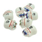 Beads bizhuteri Porcelani, Kafshë, e bardhë, 15x13.50x10mm, : 2mm, 150PC/Qese,  Qese