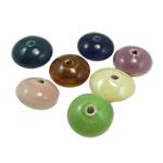 Beads xham porcelani, Monedhë, xham, ngjyra të përziera, 10.50x18mm, : 2.5mm, 70PC/Qese,  Qese