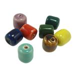 Beads xham porcelani, Tub, xham, ngjyra të përziera, 12x11mm, : 1mm, 150PC/Qese,  Qese