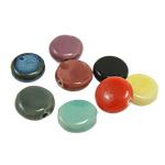 Beads xham porcelani, Monedhë, xham, ngjyra të përziera, 17x5.50mm, : 1mm, 120PC/Qese,  Qese