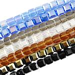 Imitim Swarovski Crystal Beads, Kristal, Kub, asnjë, faceted & imitim kristal Swarovski, ngjyra të përziera, 4mm, : 1mm, :15Inç, 10Fillesat/Qese,  Qese