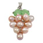 Pendants Pearl ujërave të ëmbla, Pearl kulturuar ujërave të ëmbla, with Tunxh, Hardhi, natyror, rozë, 13x35mm, 6-7mm, : 3x5mm,  PC