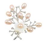 Pearl ujërave të ëmbla karficë, Pearl kulturuar ujërave të ëmbla, with Predhë & Tunxh, Lule, rozë, 52x58mm, 7-8mm,  PC