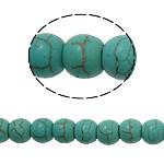 Bruz Beads, Bruz sintetike, Round, e gjelbër, 6mm, : 1mm, : 15.5Inç, 71PC/Fije floku,  15.5Inç,