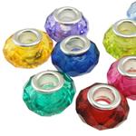 European Beads akrilik, Rondelle, ngjyra të përziera, 14x9mm, : 5mm, 100PC/Qese,  Qese