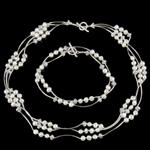 Natyrore kulturuar Pearl ujërave të ëmbla bizhuteri Sets, Pearl kulturuar ujërave të ëmbla, Round, e bardhë, 6-7mm, :18Inç,  I vendosur