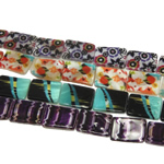 Beads Natyrore Shell Shtypi, Predhë, Drejtkëndësh, asnjë, ngjyra të përziera, 15x20x3mm, : 1mm, :15Inç, 10Fillesat/Qese,  Qese