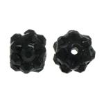 Beads diamant i rremë Rrëshirë, Rrëshirë diamant i rremë, Daulle, asnjë, me diamant i rremë, e zezë, 8x10mm, : 1.5mm, 100PC/Qese,  Qese