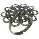 Filigran Brass Ring Base, Tunxh, Ngjyra antike bronz i praruar, asnjë, , nikel çojë \x26amp; kadmium falas, 23x23x0.50mm, : 17mm, :7, 100PC/Qese,  Qese