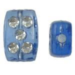 Theks Silver Beads akrilik, Drejtkëndësh, theks argjendi, blu, 8x12x4mm, : 1.2-1.5mm,  Qese