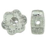 Theks Silver Beads akrilik, Lule, theks argjendi, dritë gri, 7x4x2mm, : 1.2-1.5mm,  Qese