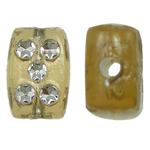 Theks Silver Beads akrilik, Drejtkëndësh, theks argjendi, thellë të verdhë, 8x12x4mm, : 1.2-1.5mm,  Qese