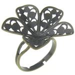 Filigran Brass Ring Base, Tunxh, Ngjyra antike bronz i praruar, asnjë, , nikel çojë \x26amp; kadmium falas, 24x24x5mm, : 17mm, :7, 100PC/Qese,  Qese
