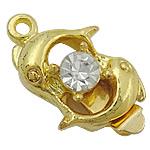 Kutia tunxh kapje, Delfin, Ngjyra argjend praruar, me diamant i rremë & vetme-fillesë, asnjë, , nikel çojë \x26amp; kadmium falas, 16.20x13x7.80mm, : 1.2, 1.8mm, 100PC/Qese,  Qese
