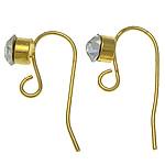 Tunxh Hook Earwire, ngjyrë ari praruar, asnjë, , nikel çojë \x26amp; kadmium falas, 18-19x6-7x0.6mm, : 2mm, 500PC/Qese,  Qese