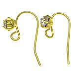 Tunxh Hook Earwire, ngjyrë ari praruar, asnjë, , nikel çojë \x26amp; kadmium falas, 19-20x7-8x0.6mm, : 2mm, 500PC/Qese,  Qese