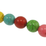 Türkis Perlen, Synthetische Türkis, rund, gemischte Farben, 10mm, Bohrung:ca. 1mm, ca. 40PCs/Strang, verkauft per ca. 15 ZollInch Strang