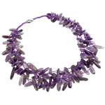 Quartz Necklace, Natural Quartz, with Amethyst, brass spring ring clasp, 10-23mm, Sold Per 20 Inch Strand