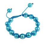 Ujërave të ëmbla Pearl Shamballa Bracelets, Pearl kulturuar ujërave të ëmbla, with Cord Wax, Shape Tjera, i lyer, blu, 7-11mm, :7Inç,  7Inç,