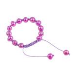 Ujërave të ëmbla Pearl Shamballa Bracelets, Pearl kulturuar ujërave të ëmbla, with Cord Wax, Shape Tjera, i lyer, Pink fuchsia, 7-11mm, :7Inç,  7Inç,