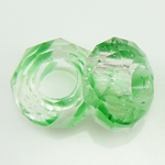 European Kristall Perlen, Millefiori Kristall, Rondell, ohne troll, grün, 14x7mm, Bohrung:ca. 6mm, 50PCs/Strang, verkauft per 14 ZollInch Strang