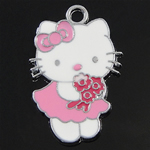 Animal Style Enamel Pendant, zinc alloy, hello kitty shape, more colors for choice, 15x22x1.5mm, Hole:Approx 2MM, Sold by PC