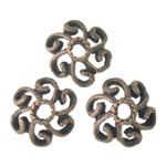 Metallisches Legieren Perlkappen, Blume, antike Kupferfarbe plattiert, 11x11x3.50mm, Bohrung:ca. 2.5mm, 3kg/Menge, verkauft von Menge