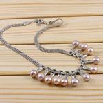 Ujërave të ëmbla Pearl gjerdan Zinxhiri tunxh, Pearl kulturuar ujërave të ëmbla, Round, vjollcë, 8-9mm, :15Inç,  15Inç,