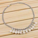 Ujërave të ëmbla Pearl gjerdan Zinxhiri tunxh, Pearl kulturuar ujërave të ëmbla, with Tunxh, Round, natyror, e bardhë, 8-9mm, :15Inç,  15Inç,
