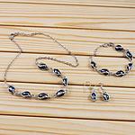 Natyrore kulturuar Pearl ujërave të ëmbla bizhuteri Sets, Pearl kulturuar ujërave të ëmbla, Oriz, natyror, e zezë, 6-7mm, 34mm, :18.5Inç,  6.5Inç,  I vendosur
