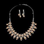 Natyrore kulturuar Pearl ujërave të ëmbla bizhuteri Sets, Pearl kulturuar ujërave të ëmbla, with Diamant i rremë, Round, natyror, rozë, 9-10mm, 8-9mm, :17.5Inç,  I vendosur