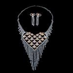 Natyrore kulturuar Pearl ujërave të ëmbla bizhuteri Sets, Pearl kulturuar ujërave të ëmbla, with Diamant i rremë, Round, natyror, rozë, 8-9mm, 21x61mm, :17.5Inç,  I vendosur
