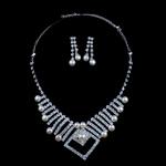 Natyrore kulturuar Pearl ujërave të ëmbla bizhuteri Sets, Pearl kulturuar ujërave të ëmbla, with Diamant i rremë, Round, natyror, e bardhë, 7-9mm, 7-8mm, :17.5Inç,  I vendosur